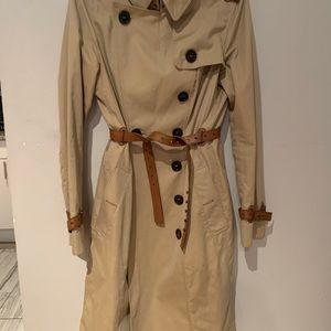 Burberry Prorsum Leather Trim Trench Coat